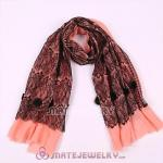 Urban Retro Pink Wool with Black Lace Pashmina Shawl Scarves
