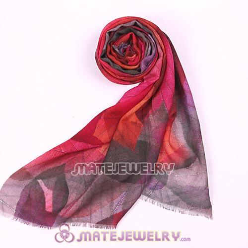 Mori Girl Style Wool Scarves Digital Painting Leaves Pashmina Shawl