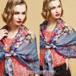 Urban Retro Wool Scarves Digital Painting Peony flower Pashmina Shawl