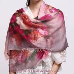 European Rural Wool Scarves Digital Painting Lots of Flowers Pashmina Shawl