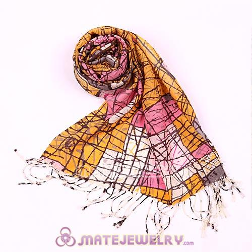 Urban Retro Wool Scarves Digital Painting abstract conception lines Pashmina Shawl