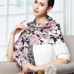 European Rural Wool Scarves Digital Painting Leopard Rose Pashmina Shawl