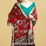 European Rural Wool Scarves Digital Painting Love Clock Pashmina Shawl