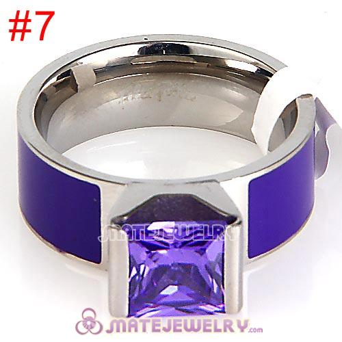 Fashion Unisex Silver Plated Purple CZ Stone Titanium Steel Finger Ring