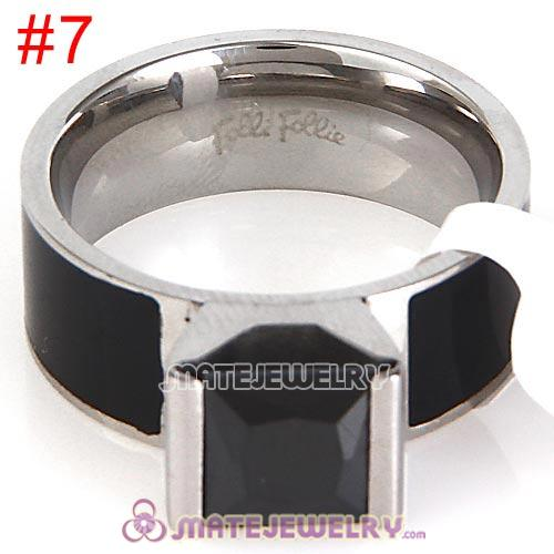 Fashion Unisex Silver Plated Black CZ Stone Titanium Steel Finger Ring