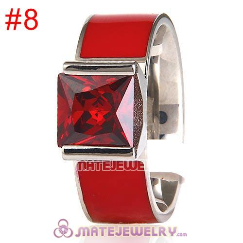 Fashion Unisex Silver Plated Red CZ Stone Titanium Steel Finger Ring