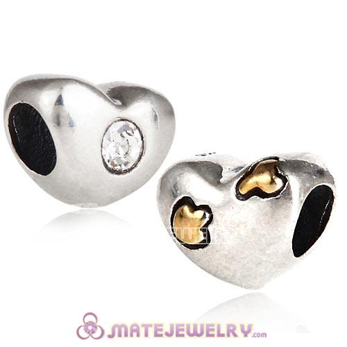 Gold Plated Love Struck Charm Sterling Silver Beads with Crystal Austrian Crystal