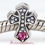 925 Sterling Silver European Cross Charm Bead with Rose Austrian Crystal