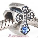 925 Sterling Silver European Cross Charm Bead with Sapphire Austrian Crystal