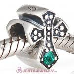 925 Sterling Silver European Cross Charm Bead with Emerald Austrian Crystal