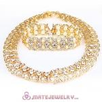 Fashion Gold Plated bling bling Crystal Pearl Jewelry Set Wholesale