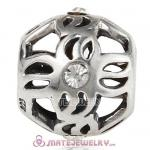 Wholesale 925 Sterling Silver Pinwheel Charm Bead With Clear Stone