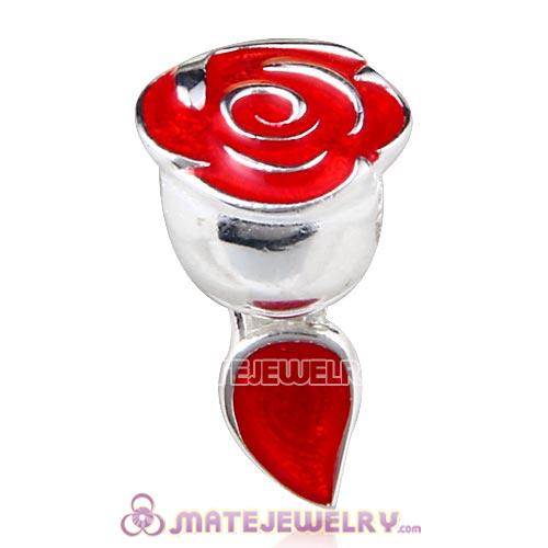 Sterling Silver Belle Enchanted Rose with Red Enamel Beads European Style