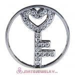 22mm Large Platinum Heart Key Alloy Window Plate