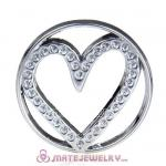 22mm Large Platinum Heart Alloy Window Plate