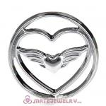 22mm Large Platinum Heart with Wing Alloy Window Plate
