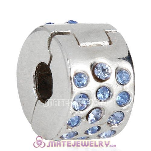 Sterling Silver Glimmer Clip Beads with Light Sapphire Austrian Crystal European Style