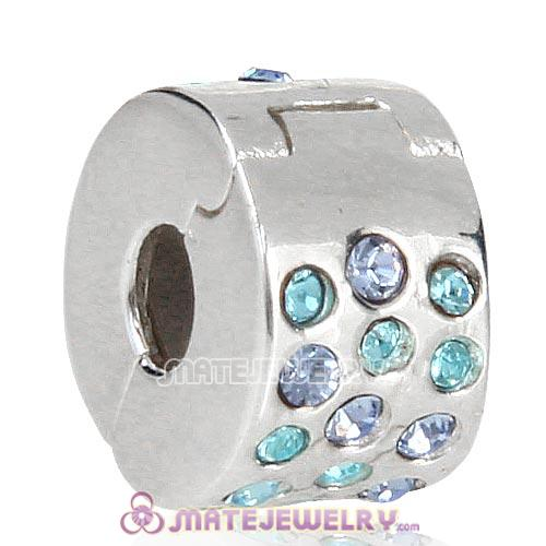 Sterling Silver Glimmer Clip Beads with Aquamarine Austrian Crystal European Style