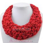 Handmade Weave Fluorescence Red Cotton Rope Statement Necklace
