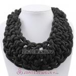 Handmade Weave Fluorescence Black Cotton Rope Statement Necklace