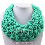 Handmade Weave Fluorescence Turquoise Cotton Rope Statement Necklace