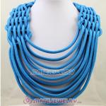 Handmade Weave Fluorescence Blue Cotton Rope Statement Necklace