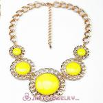 2014 Fashion Lollies Yellow Resin Round Necklaces Wholesale