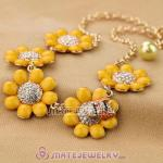 Luxury brand Yellow Resin Flower with Crystal and Ladybug Necklaces