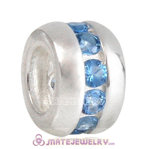 European Style Sterling Silver Beads with Blue CZ Stone