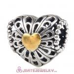 Antique Sterling Silver Gold Plated Heart Charm Beads