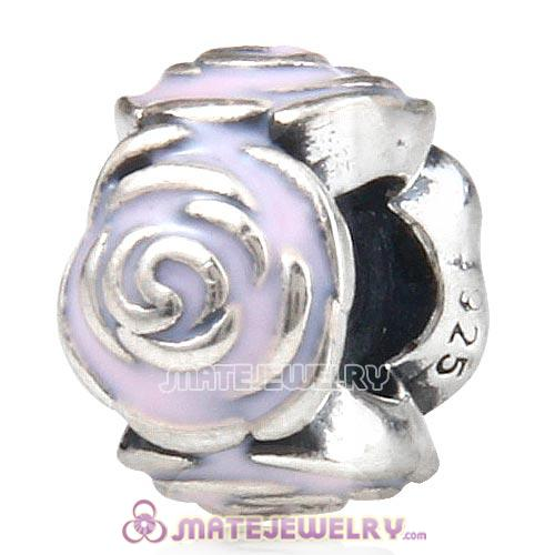 Sterling Silver Rose Garden with Pink Enamel Charm Beads