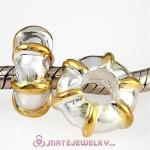 Gold Plated Line Sterling Silver Spacer Beads European Style