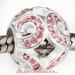 Sterling Silver Glittering Wave Beads with Light Rose Austrian Crystal European Style