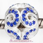 Sterling Silver Glittering Wave Beads with Sapphire Austrian Crystal European Style