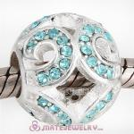 Sterling Silver Glittering Wave Beads with Aquamarine Austrian Crystal European Style