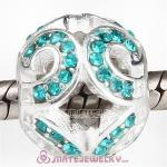 Sterling Silver Glittering Wave Beads with Blue Zircon Austrian Crystal European Style