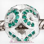 Sterling Silver Glittering Wave Beads with Emerald Austrian Crystal European Style