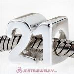 European Sterling Silver Birthday Milestones Number 21 Charm Beads