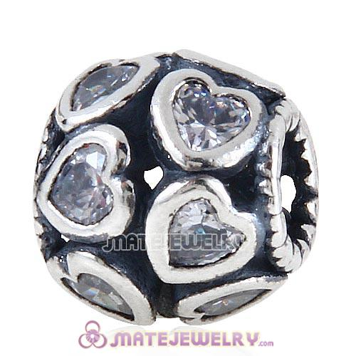 European Style Sterling Silver Love All Around Beads with Clear CZ Stone
