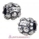 Antique 925 Sterling Silver European LOVE and FAMILY Charm Beads with Screw Thread
