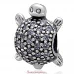 Sea Turtle Charm With Pave Clear CZ 925 Sterling Silver Bead