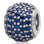 925 Sterling Silver Sapphire Pave Lights with Sapphire Charm CZ Bead