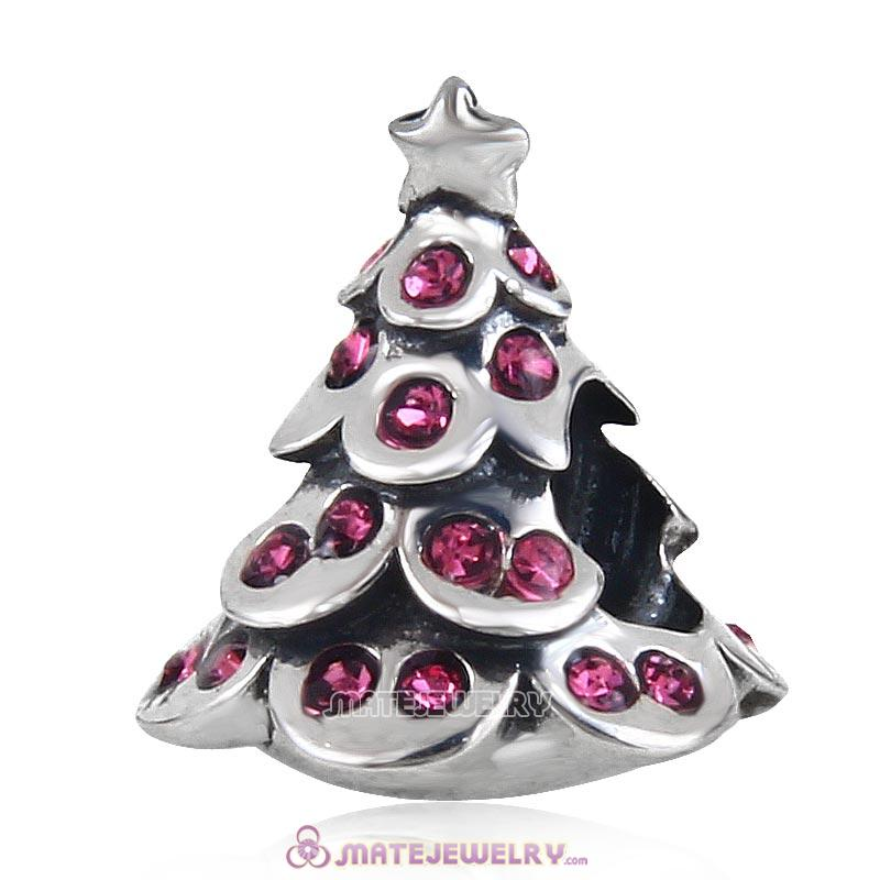 Christmas Tree Charm 925 Sterling Silver Beads with Bling Rose Australian Crystal