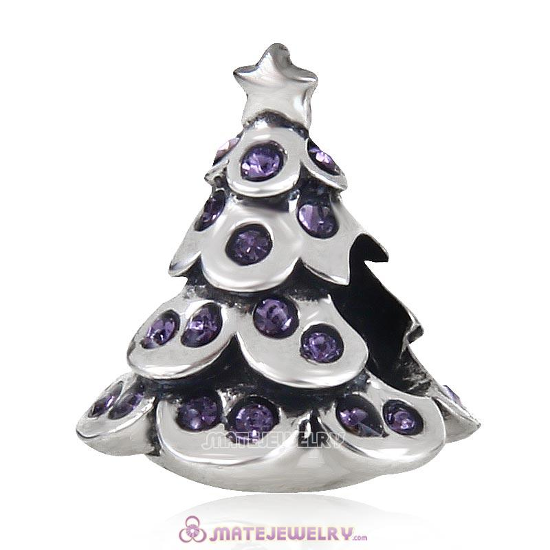 Christmas Tree Charm 925 Sterling Silver Beads with Bling Tanzanite Australian Crystal