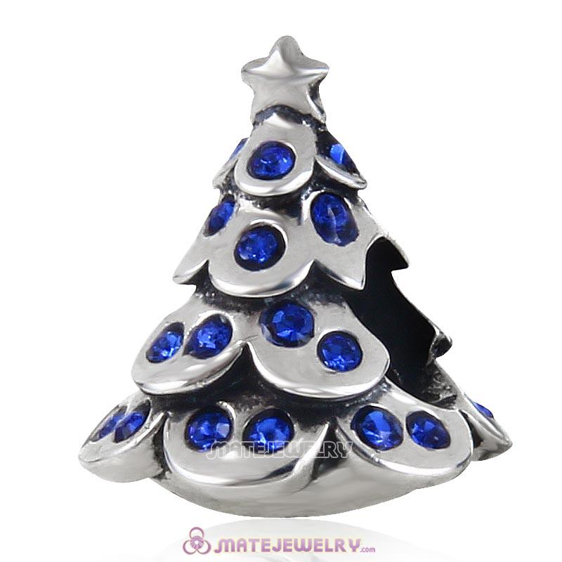 Christmas Tree Charm 925 Sterling Silver Beads with Bling Sapphire Australian Crystal