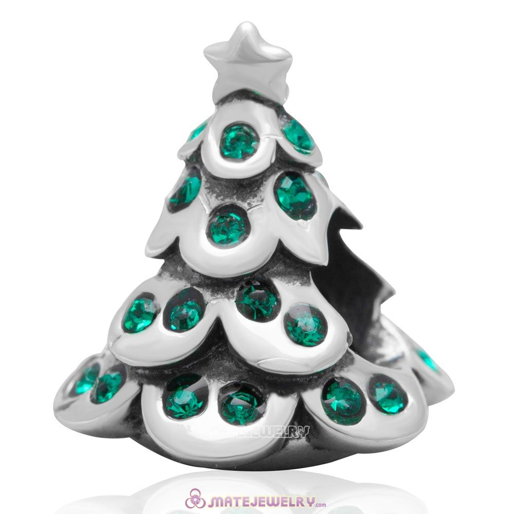 Christmas Tree Charm 925 Sterling Silver Beads with Bling Emerald Australian Crystal