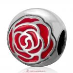 Antique Sterling Silver Rose Flower with Red Enamel Charm Beads