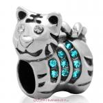 Tiger Charm Sterling Silver Beads with Blue Zircon Austrian Crystal