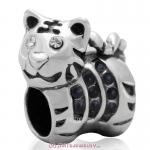 Tiger Charm Sterling Silver Beads with Jet Austrian Crystal