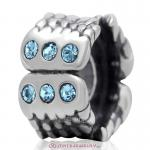 Wings Charm Sterling Silver Beads with Aquamarine Austrian Crystal